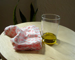 a cloth and a little olive oil ready to polish your furniture