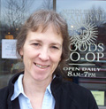 Carol Rudinski outside the Middlebury Co-op