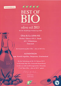 The Best of Bio Award given to Authentikon organic olive oil