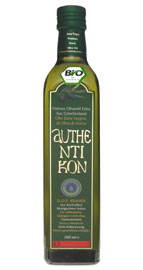 a bottle of Authentikon olive oil